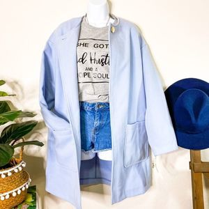 KENNETH COLE Sky Blue Felt Trench Coat NWT size L